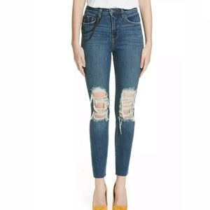 L'Agence Luna Straight High Rise Chain Rip Jeans